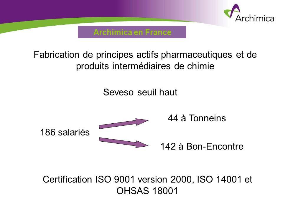 Service EHSARevue de Direction HSE – 19 décembre 2006 Archimica en France Fabrication de principes actifs pharmaceutiques et de produits intermédiaire