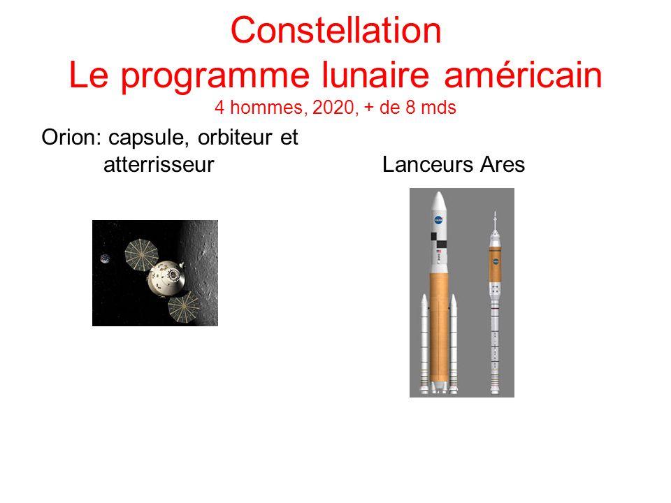 Constellation Le programme lunaire américain 4 hommes, 2020, + de 8 mds Orion: capsule, orbiteur et atterrisseur Lanceurs Ares