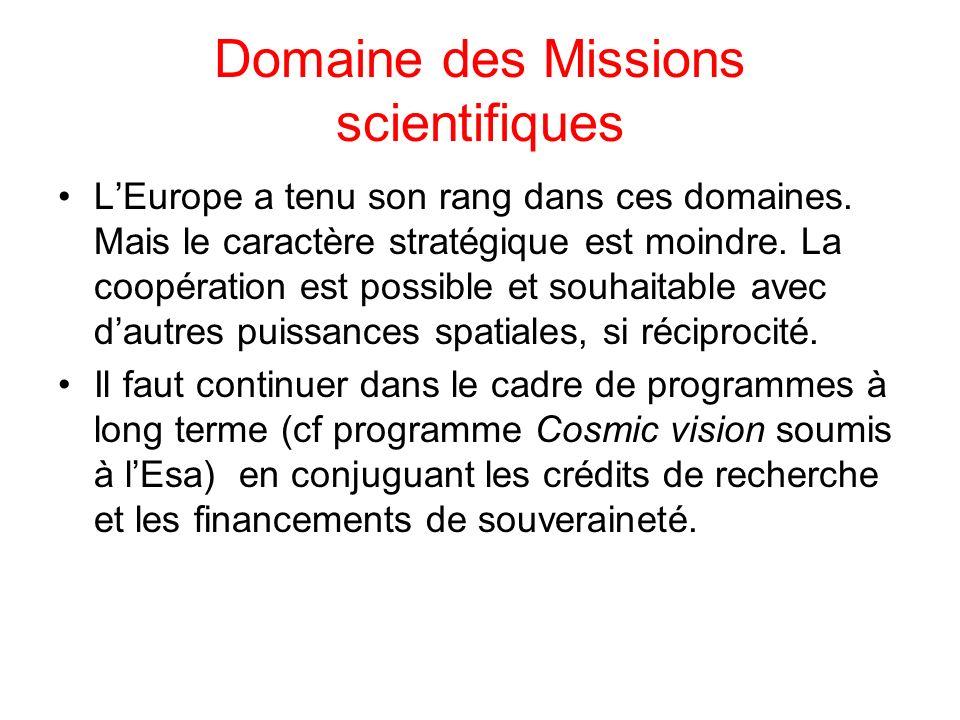 Domaine des Missions scientifiques LEurope a tenu son rang dans ces domaines. Mais le caractère stratégique est moindre. La coopération est possible e