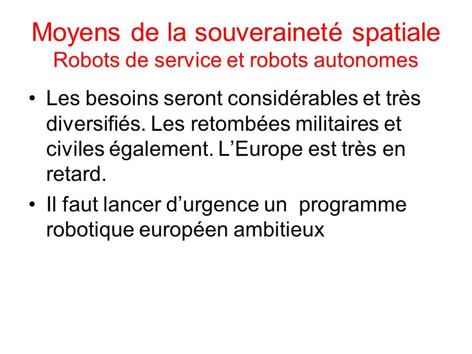 Moyens de la souveraineté spatiale Robots de service et robots autonomes Les besoins seront considérables et très diversifiés. Les retombées militaire
