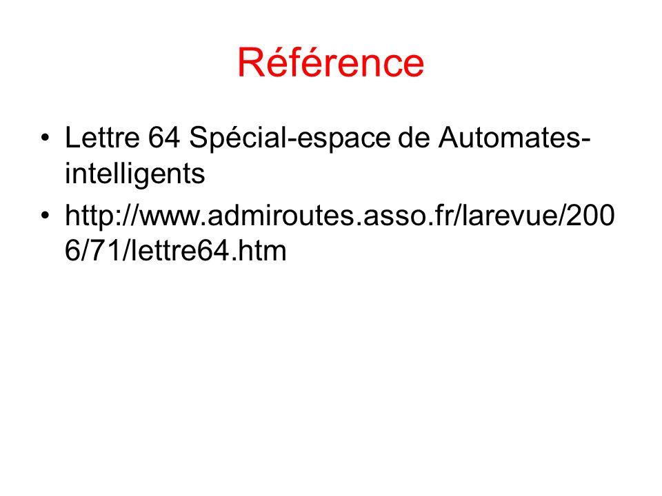Référence Lettre 64 Spécial-espace de Automates- intelligents http://www.admiroutes.asso.fr/larevue/200 6/71/lettre64.htm