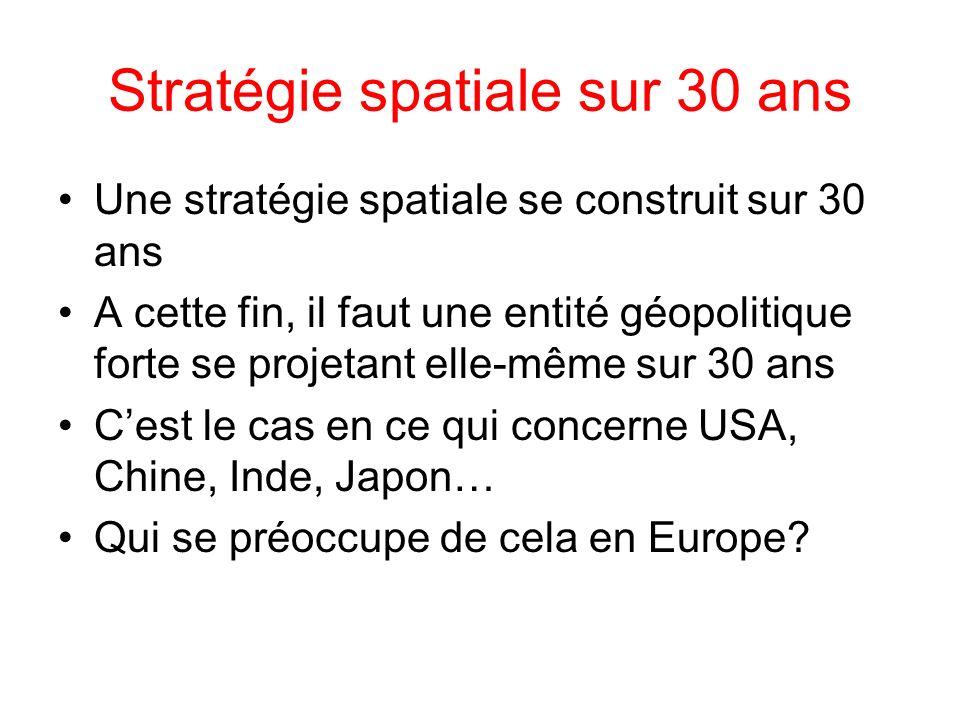 Stratégie spatiale sur 30 ans Une stratégie spatiale se construit sur 30 ans A cette fin, il faut une entité géopolitique forte se projetant elle-même