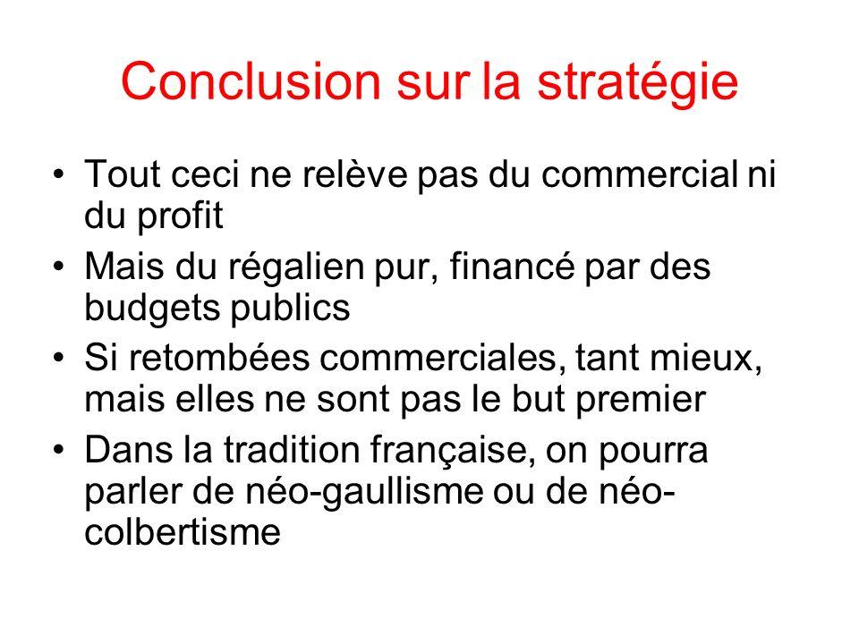 Conclusion sur la stratégie Tout ceci ne relève pas du commercial ni du profit Mais du régalien pur, financé par des budgets publics Si retombées comm