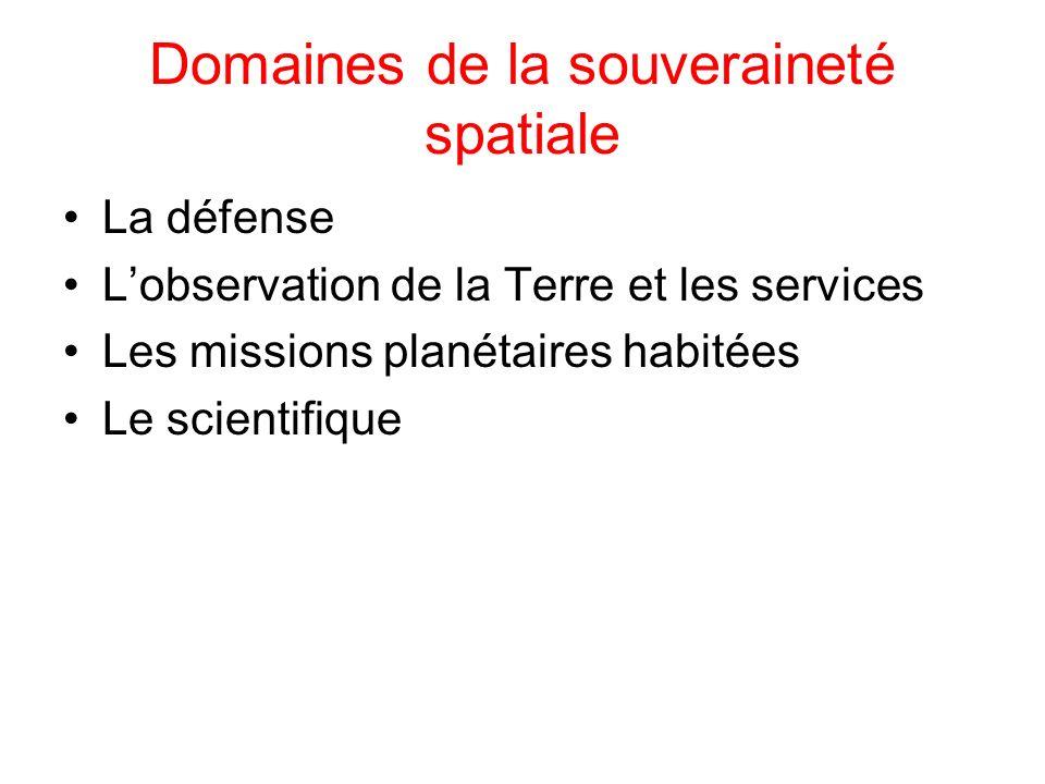 Domaines de la souveraineté spatiale La défense Lobservation de la Terre et les services Les missions planétaires habitées Le scientifique