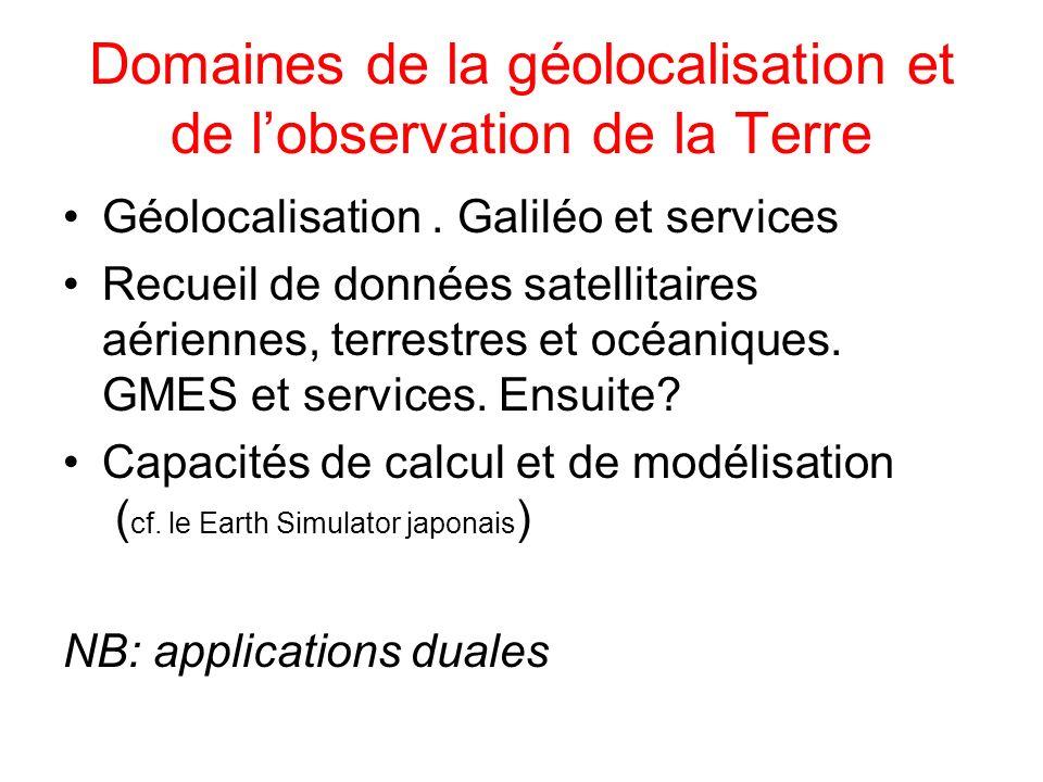 Domaines de la géolocalisation et de lobservation de la Terre Géolocalisation. Galiléo et services Recueil de données satellitaires aériennes, terrest