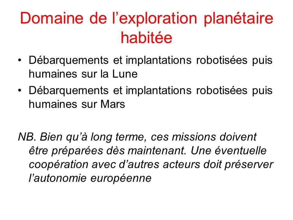 Domaine de lexploration planétaire habitée Débarquements et implantations robotisées puis humaines sur la Lune Débarquements et implantations robotisé