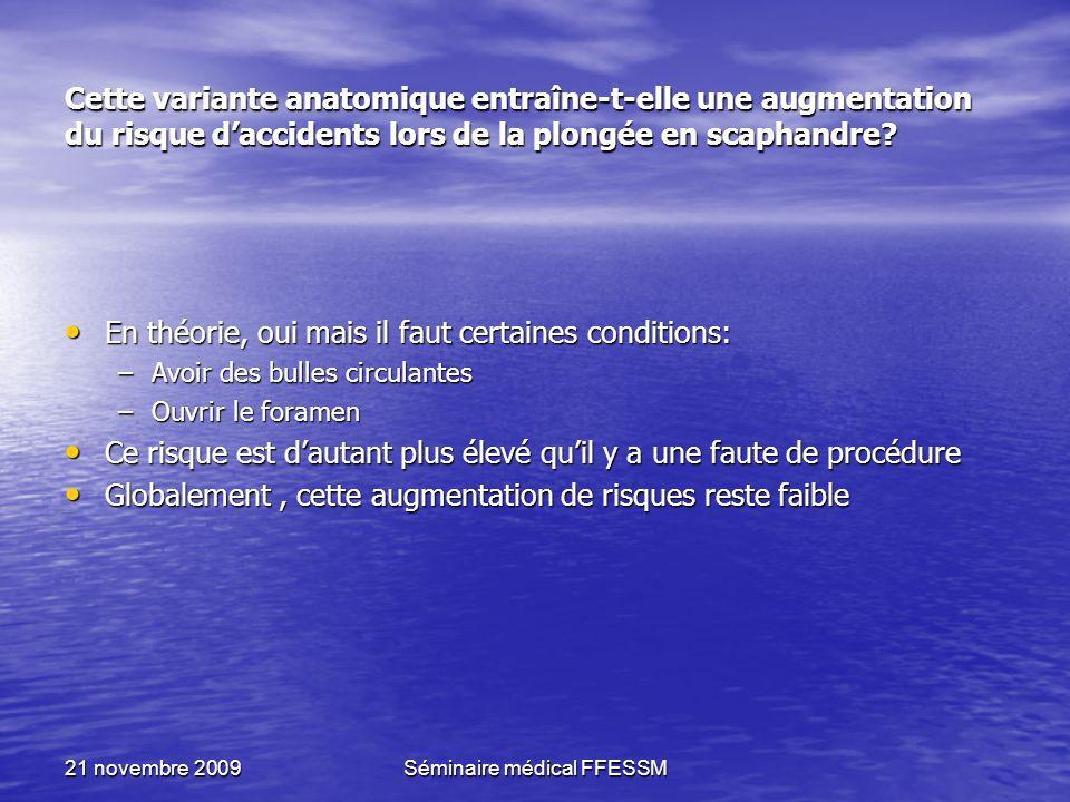 21 novembre 2009Séminaire médical FFESSM Cette variante anatomique entraîne-t-elle une augmentation du risque daccidents lors de la plongée en scaphan