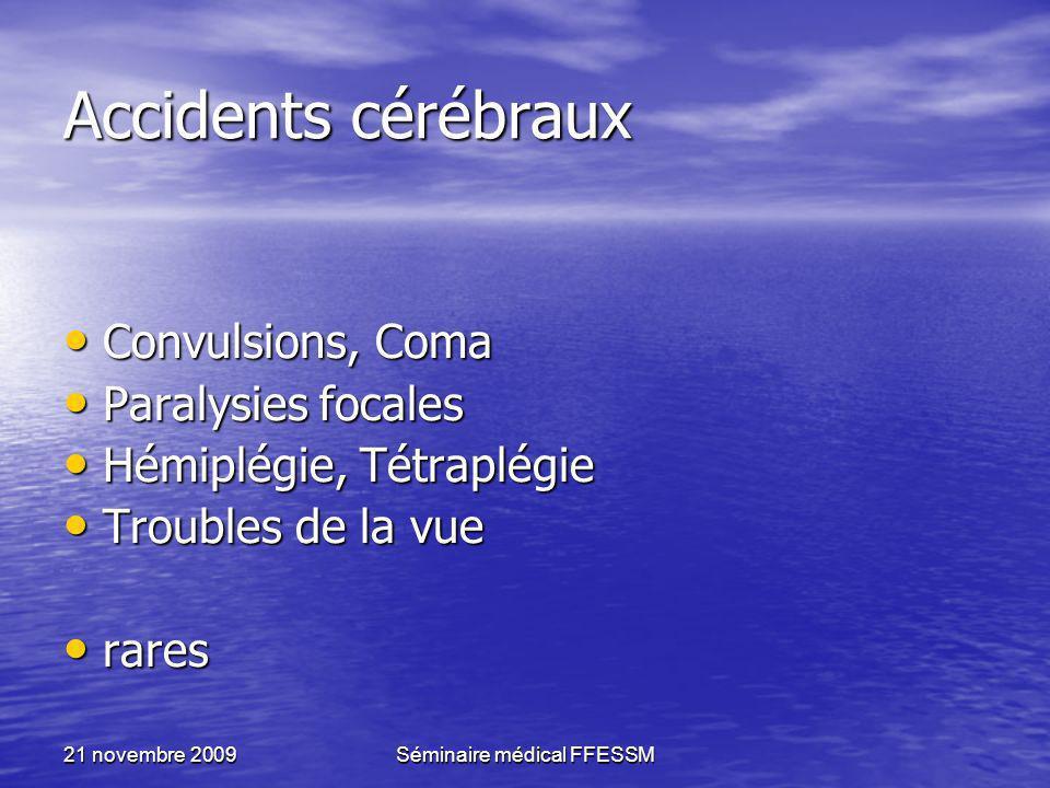 21 novembre 2009Séminaire médical FFESSM Accidents cérébraux Convulsions, Coma Convulsions, Coma Paralysies focales Paralysies focales Hémiplégie, Tét