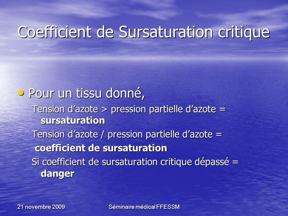 21 novembre 2009Séminaire médical FFESSM Coefficient de Sursaturation critique Pour un tissu donné, Pour un tissu donné, Tension dazote > pression par