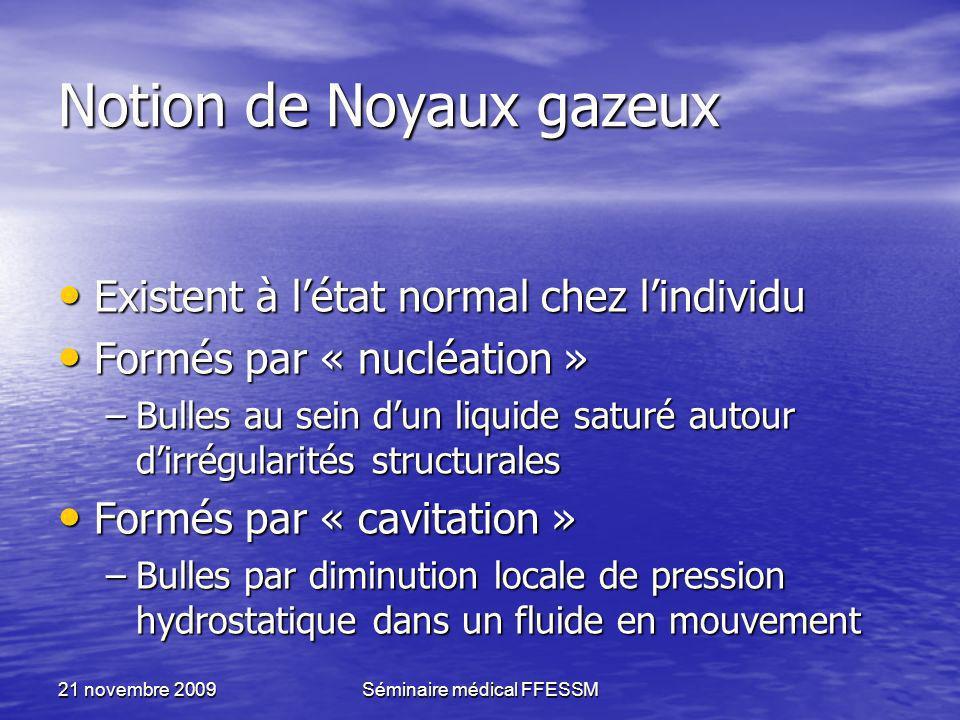 21 novembre 2009Séminaire médical FFESSM Notion de Noyaux gazeux Existent à létat normal chez lindividu Existent à létat normal chez lindividu Formés