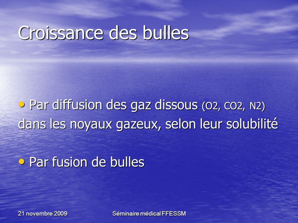 21 novembre 2009Séminaire médical FFESSM Croissance des bulles Par diffusion des gaz dissous (O2, CO2, N2) Par diffusion des gaz dissous (O2, CO2, N2)