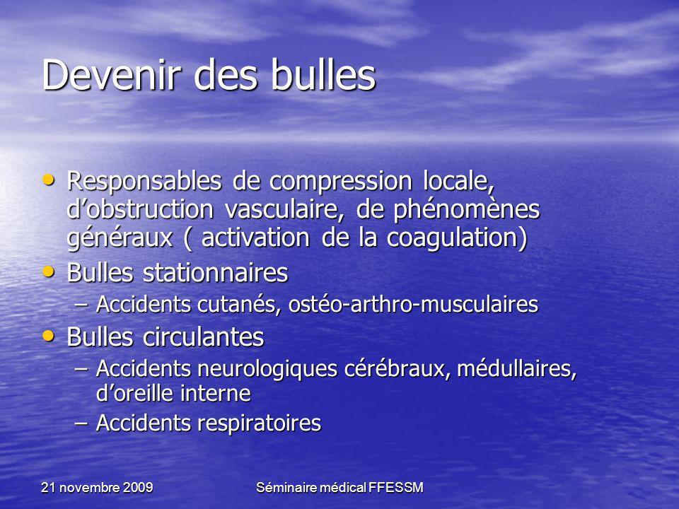 21 novembre 2009Séminaire médical FFESSM Devenir des bulles Responsables de compression locale, dobstruction vasculaire, de phénomènes généraux ( acti