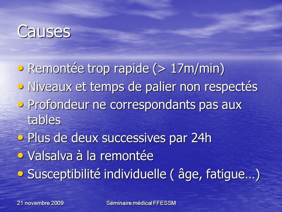21 novembre 2009Séminaire médical FFESSM Causes Remontée trop rapide (> 17m/min) Remontée trop rapide (> 17m/min) Niveaux et temps de palier non respe
