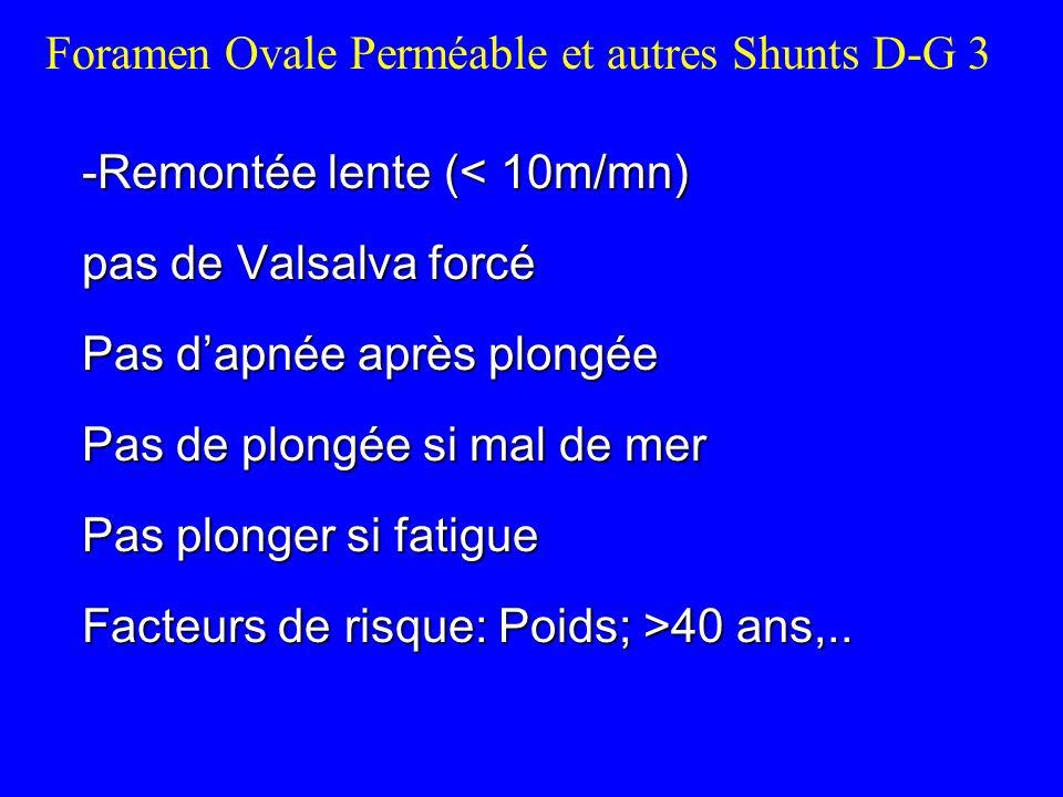 -Remontée lente ( 40 ans,.. Foramen Ovale Perméable et autres Shunts D-G 3