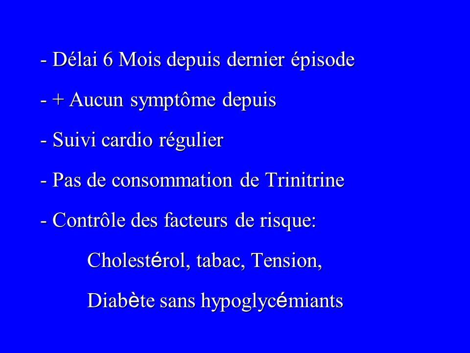 - Délai 6 Mois depuis dernier épisode - + Aucun symptôme depuis - Suivi cardio régulier - Pas de consommation de Trinitrine - Contrôle des facteurs de