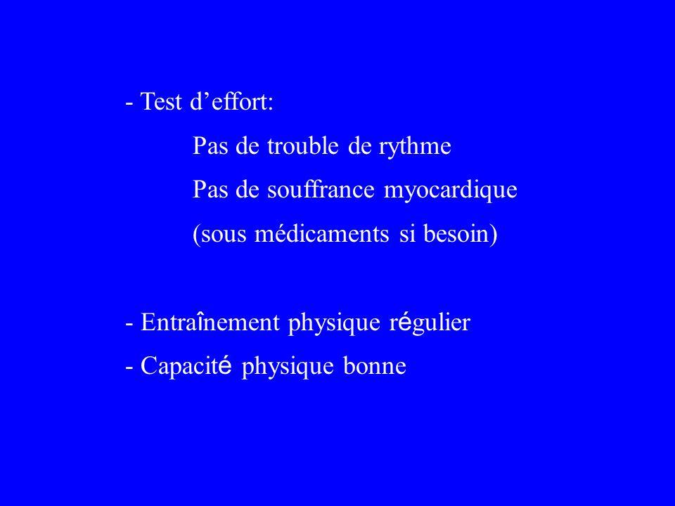 - Test deffort: Pas de trouble de rythme Pas de souffrance myocardique (sous médicaments si besoin) - Entra î nement physique r é gulier - Capacit é p