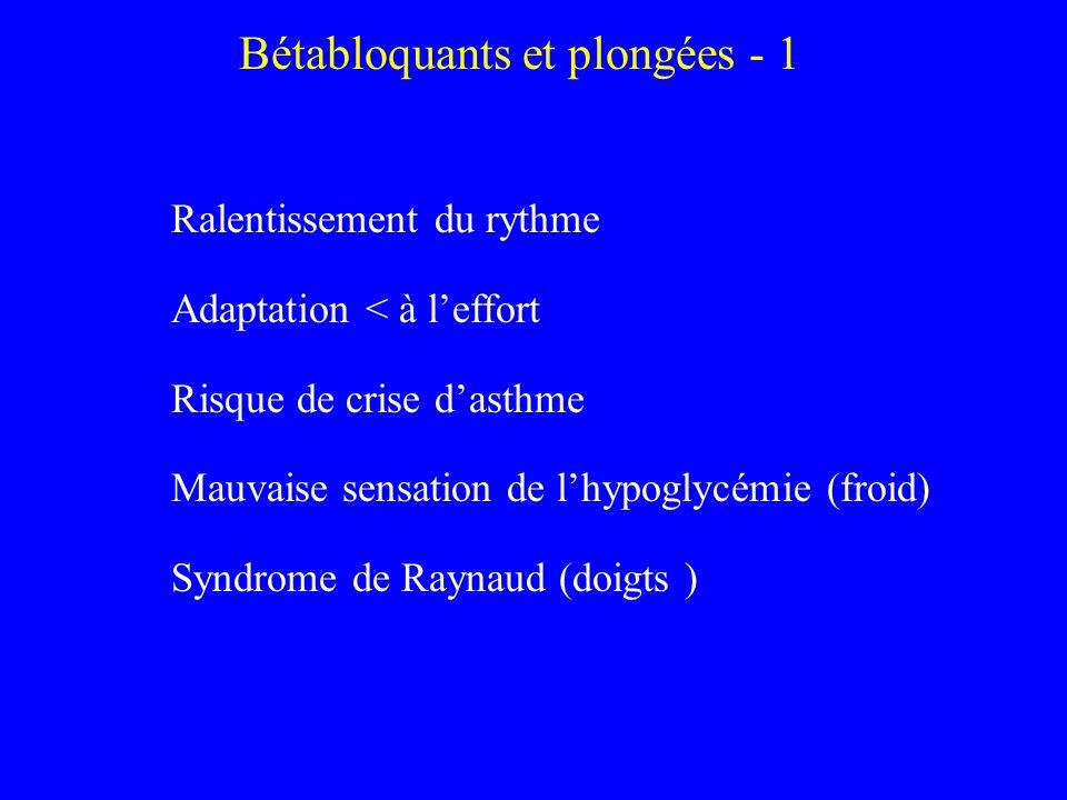 Bétabloquants et plongées - 1 Ralentissement du rythme Adaptation < à leffort Risque de crise dasthme Mauvaise sensation de lhypoglycémie (froid) Synd