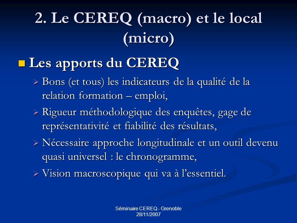 Séminaire CEREQ - Grenoble 28/11/2007 2. Le CEREQ (macro) et le local (micro) Les apports du CEREQ Les apports du CEREQ Bons (et tous) les indicateurs