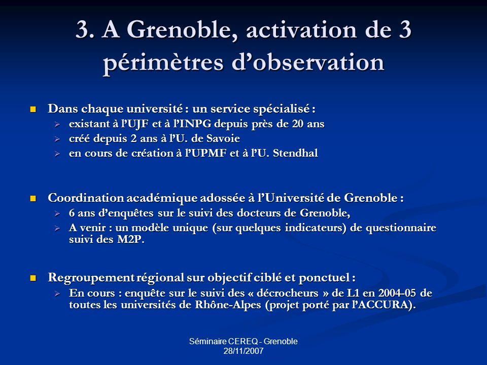 Séminaire CEREQ - Grenoble 28/11/2007 3. A Grenoble, activation de 3 périmètres dobservation Dans chaque université : un service spécialisé : Dans cha
