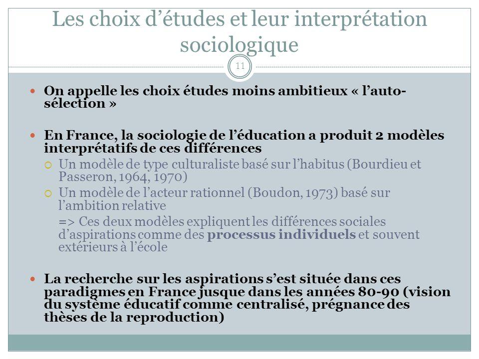 Les choix détudes et leur interprétation sociologique 11 On appelle les choix études moins ambitieux « lauto- sélection » En France, la sociologie de