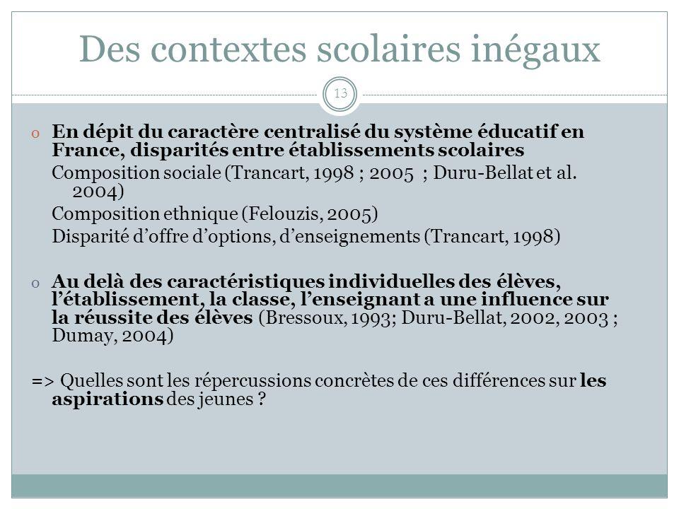 Des contextes scolaires inégaux 13 o En dépit du caractère centralisé du système éducatif en France, disparités entre établissements scolaires Composi