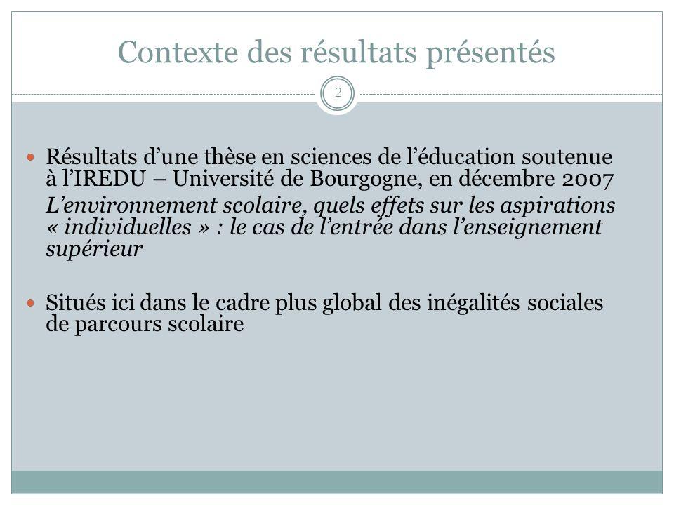 Contexte des résultats présentés 2 Résultats dune thèse en sciences de léducation soutenue à lIREDU – Université de Bourgogne, en décembre 2007 Lenvir