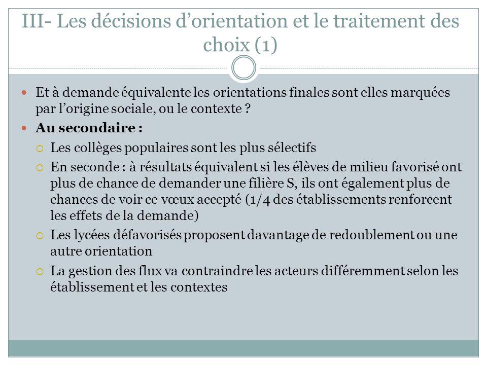 III- Les décisions dorientation et le traitement des choix (1) Et à demande équivalente les orientations finales sont elles marquées par lorigine soci