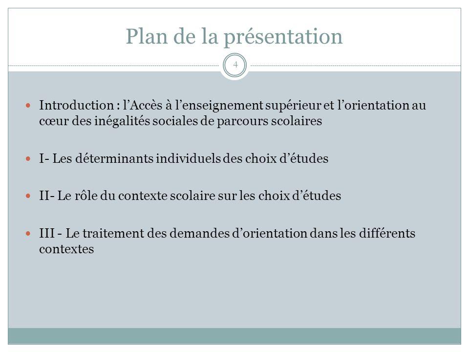 Plan de la présentation 4 Introduction : lAccès à lenseignement supérieur et lorientation au cœur des inégalités sociales de parcours scolaires I- Les