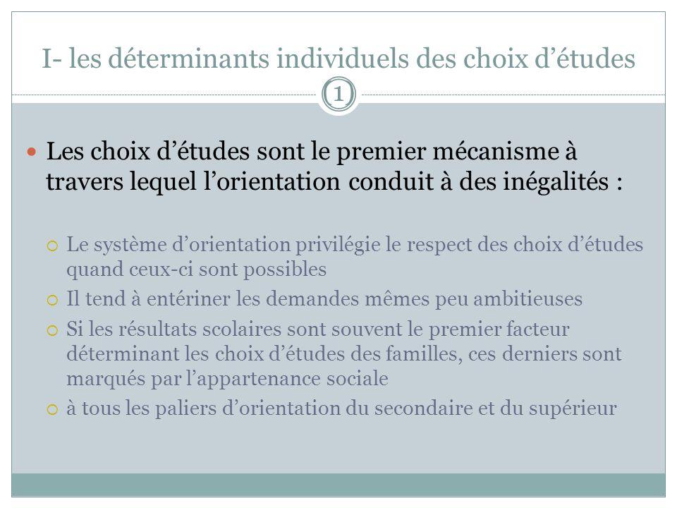I- les déterminants individuels des choix détudes (1) Les choix détudes sont le premier mécanisme à travers lequel lorientation conduit à des inégalit