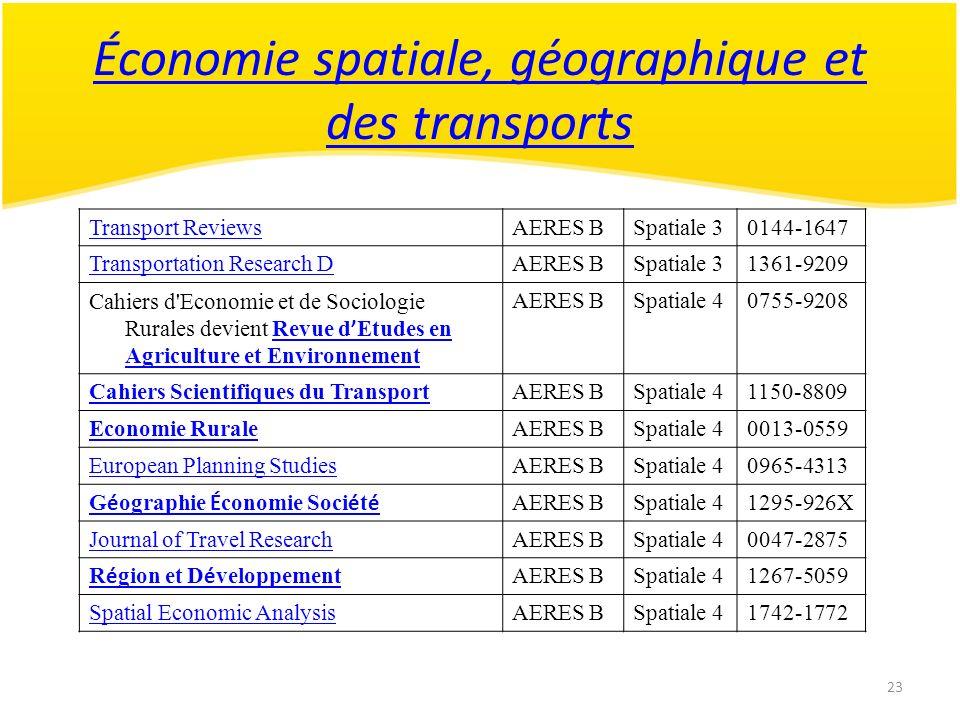 23 Économie spatiale, géographique et des transports Transport ReviewsAERES BSpatiale 30144-1647 Transportation Research DAERES BSpatiale 31361-9209 C