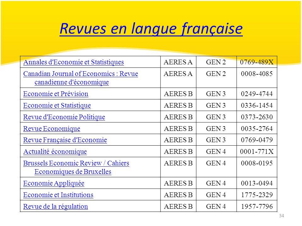 34 Revues en langue française Annales d'Economie et StatistiquesAERES AGEN 20769-489X Canadian Journal of Economics : Revue canadienne d'économique AE