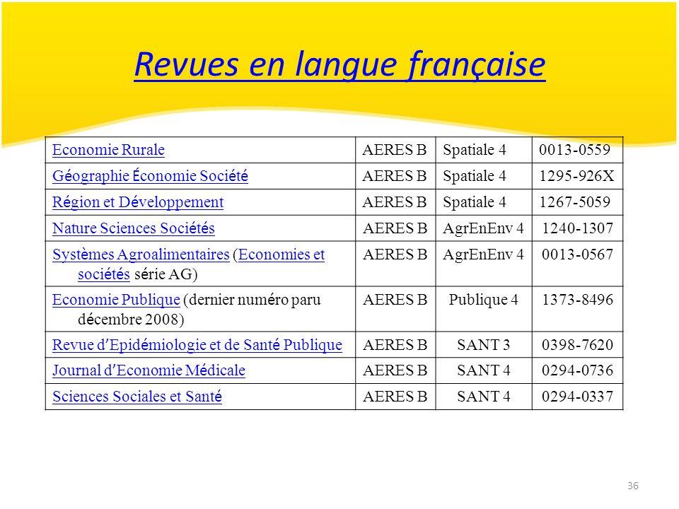 36 Revues en langue française Economie RuraleAERES BSpatiale 40013-0559 G é ographie É conomie Soci é t é AERES BSpatiale 41295-926X R é gion et D é v