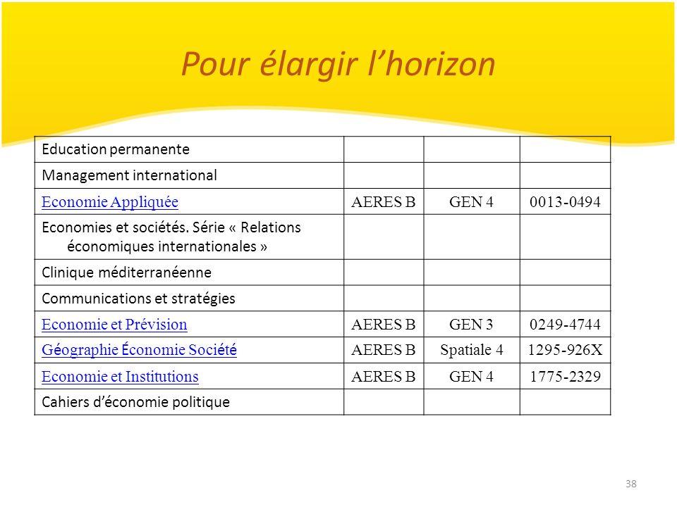 38 Pour élargir lhorizon Education permanente Management international Economie AppliquéeAERES BGEN 40013-0494 Economies et sociétés. Série « Relation
