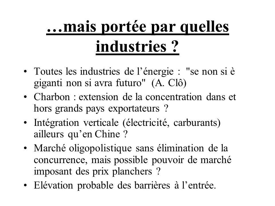…mais portée par quelles industries ? Toutes les industries de lénergie :