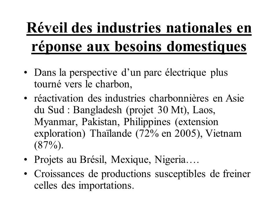 Réveil des industries nationales en réponse aux besoins domestiques Dans la perspective dun parc électrique plus tourné vers le charbon, réactivation