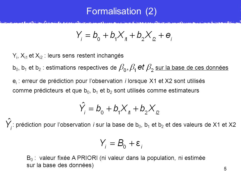 5 e i : erreur de prédiction pour lobservation i lorsque X1 et X2 sont utilisés comme prédicteurs et que b 0, b 1 et b 2 sont utilisés comme estimateu