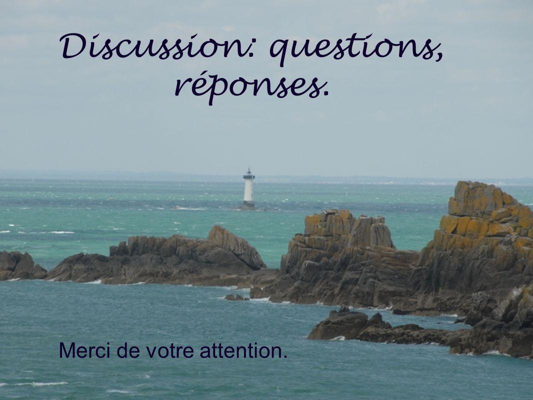 Discussion: questions, réponses. Merci de votre attention.