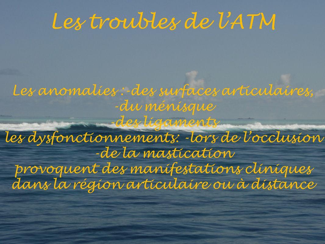 Les anomalies :-des surfaces articulaires, -du ménisque -des ligaments les dysfonctionnements: -lors de locclusion -de la mastication provoquent des manifestations cliniques dans la région articulaire ou à distance Les troubles de lATM