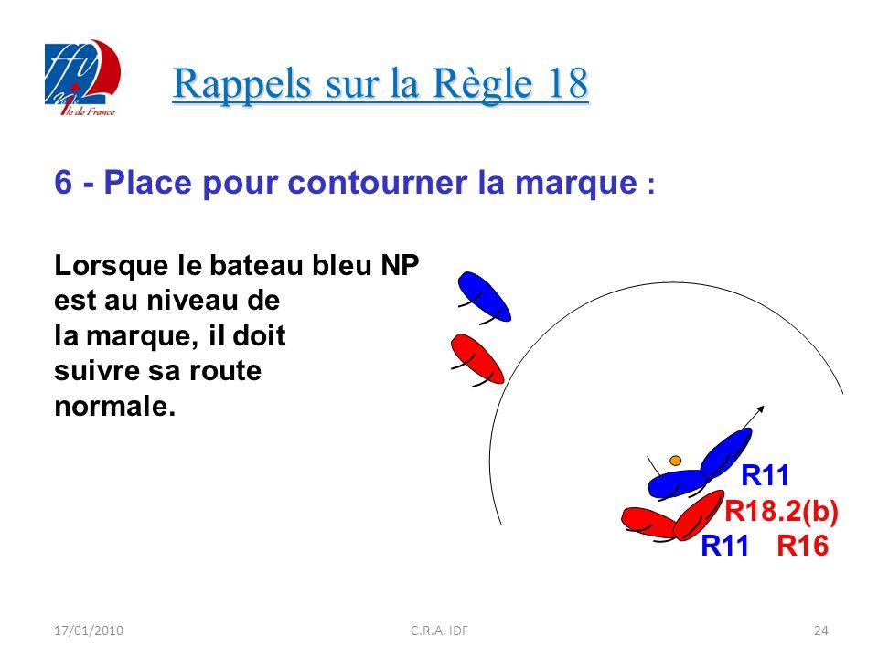 Rappels sur la Règle 18 Rappels sur la Règle 18 6 - Place pour contourner la marque : Lorsque le bateau bleu NP est au niveau de la marque, il doit suivre sa route normale.