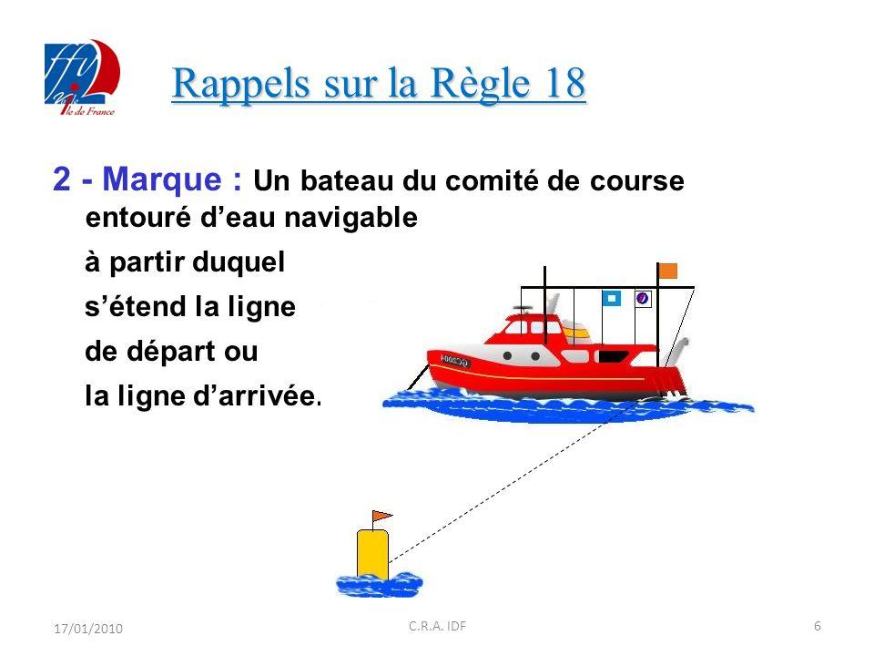 Rappels sur la Règle 18 Rappels sur la Règle 18 2 - Marque : Un bateau du comité de course entouré deau navigable à partir duquel sétend la ligne de départ ou la ligne darrivée.