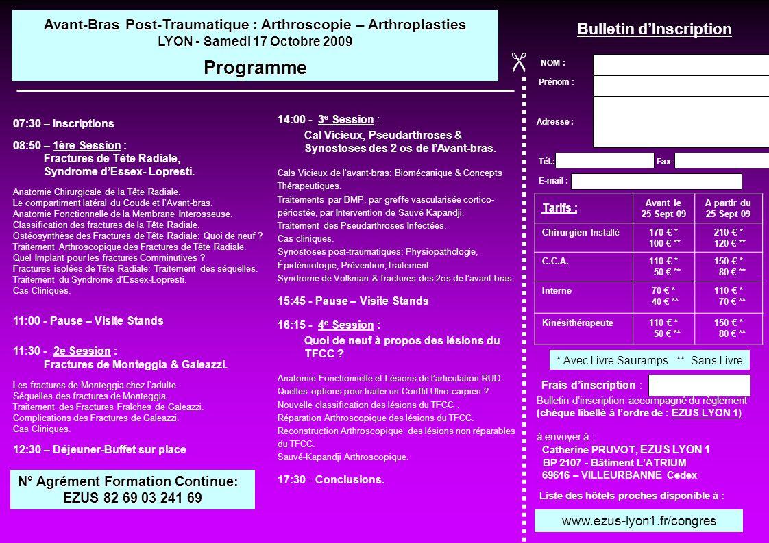 14:00 - 3 e Session : Cal Vicieux, Pseudarthroses & Synostoses des 2 os de lAvant-bras. Cals Vicieux de lavant-bras: Biomécanique & Concepts Thérapeut