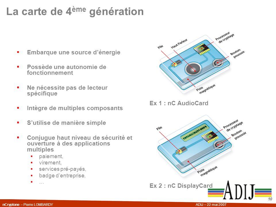 nCryptone – Pierre LOMBARDYADIJ – 22 mai 2007 10 La carte de 4 ème génération Embarque une source dénergie Possède une autonomie de fonctionnement Ne
