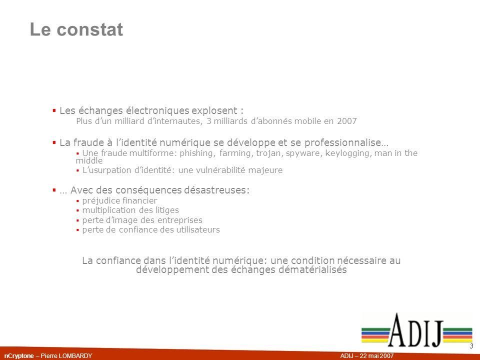 nCryptone – Pierre LOMBARDYADIJ – 22 mai 2007 3 Les échanges électroniques explosent : Plus dun milliard dinternautes, 3 milliards dabonnés mobile en