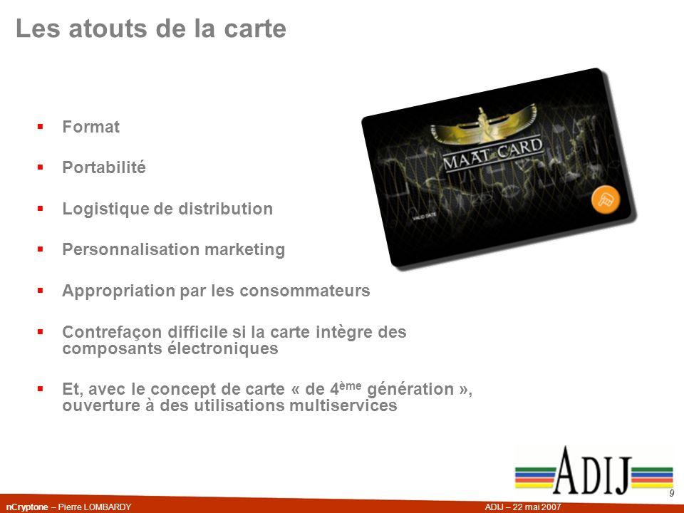 nCryptone – Pierre LOMBARDYADIJ – 22 mai 2007 9 Les atouts de la carte Format Portabilité Logistique de distribution Personnalisation marketing Approp