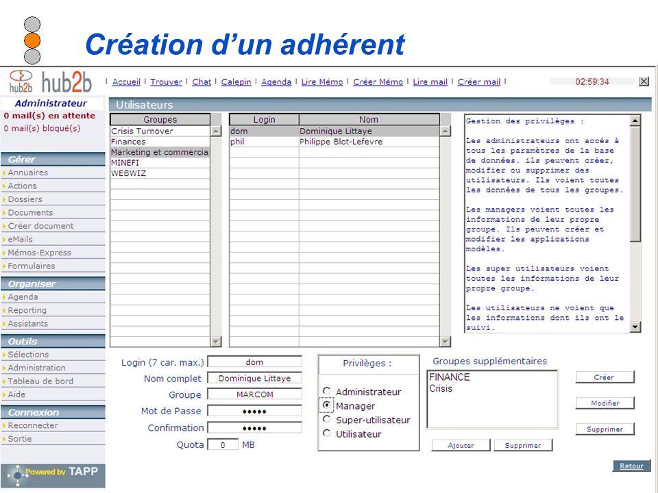 Diffusion autorisée sur tous supports en citant la source - Modification interdite Création dun adhérent