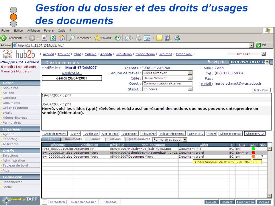 Diffusion autorisée sur tous supports en citant la source - Modification interdite Gestion du dossier et des droits dusages des documents