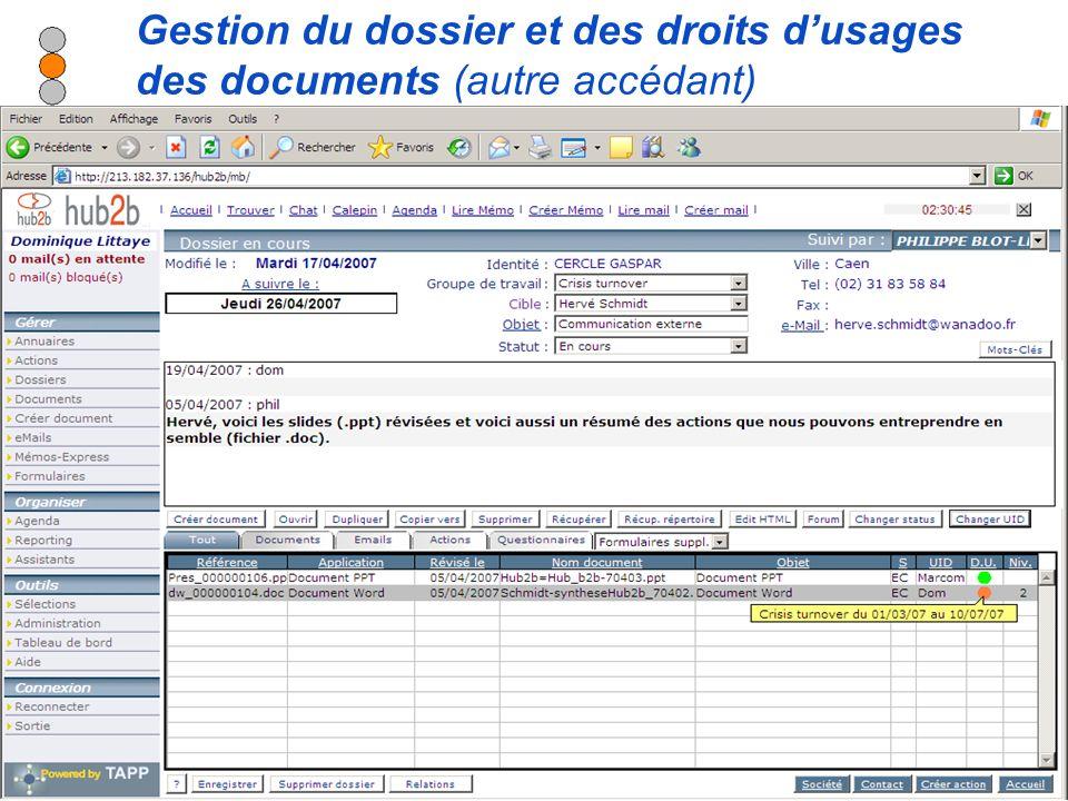 Diffusion autorisée sur tous supports en citant la source - Modification interdite Gestion du dossier et des droits dusages des documents (autre accédant)