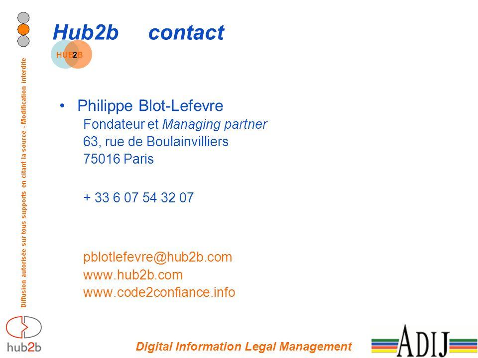 Diffusion autorisée sur tous supports en citant la source - Modification interdite Hub2bcontact Philippe Blot-Lefevre Fondateur et Managing partner 63, rue de Boulainvilliers 75016 Paris + 33 6 07 54 32 07 pblotlefevre@hub2b.com www.hub2b.com www.code2confiance.info Digital Information Legal Management HUB2B2B