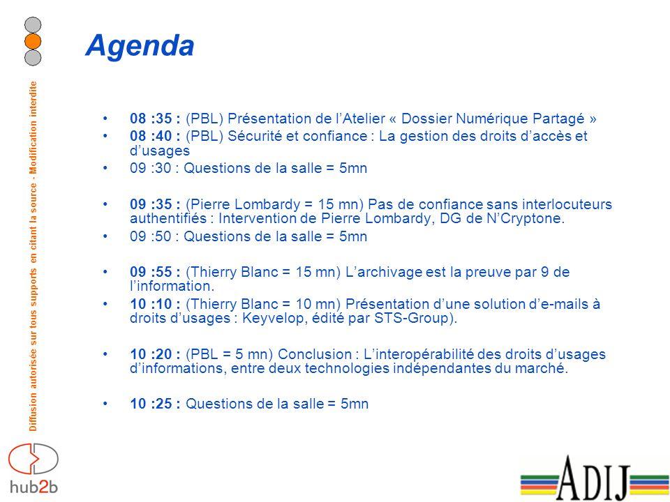 Diffusion autorisée sur tous supports en citant la source - Modification interdite Agenda 08 :35 : (PBL) Présentation de lAtelier « Dossier Numérique