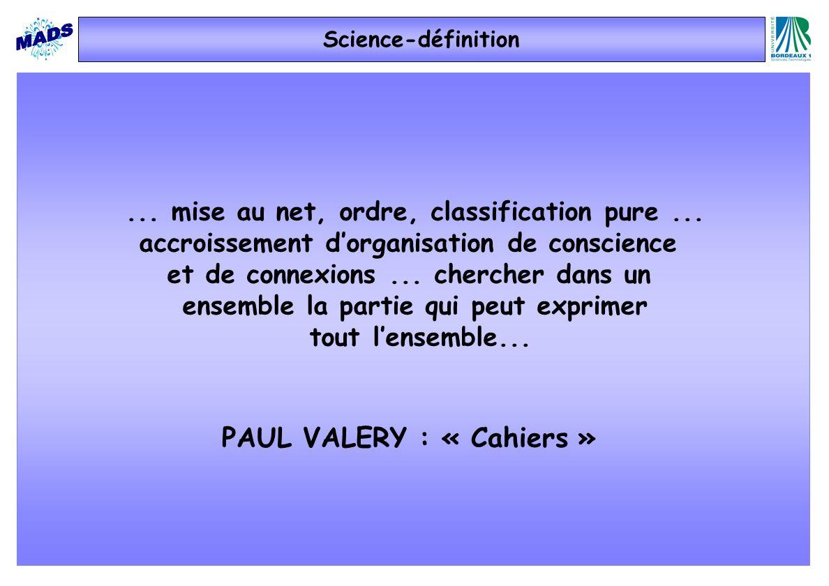PAUL VALERY : « Cahiers »... mise au net, ordre, classification pure... accroissement dorganisation de conscience et de connexions... chercher dans un